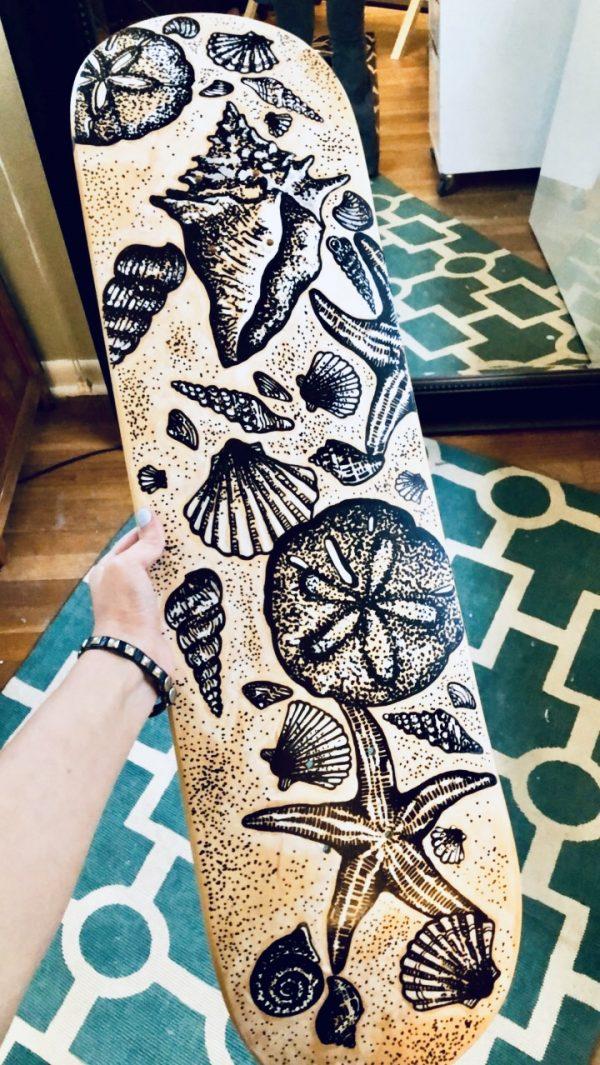 painted skateboard deck by jessi lee huey