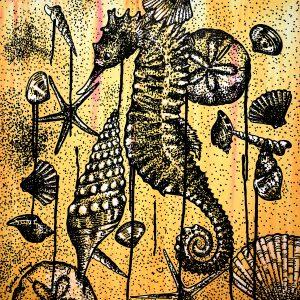 orange seahorses painting by jessi lee huey